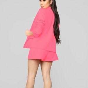 Fashion Nova Jackets & Coats - Neon Pink Suit Set